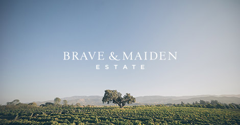 Oak tree in the vineyard below the Brave & Maiden logo