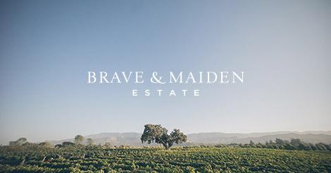 Oak tree in the vineyard below the Brave & Maiden logo