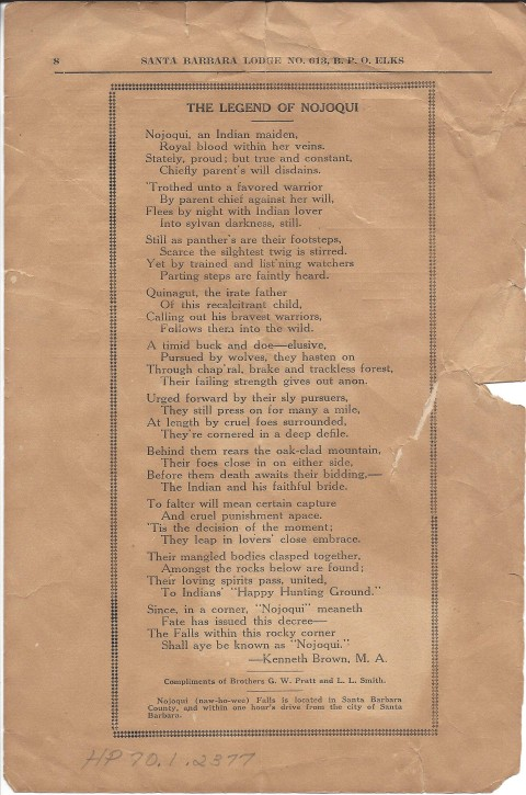 """A page scan of the """"Legend of Nojoqui"""" as printed by the Elks Lodge circa 1921"""